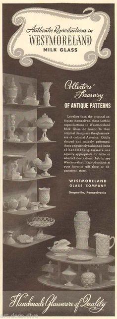 1940s vintage WESTMORELAND Milk Glass VASE Pitcher DISH Teapot CHICKEN Ad #Westmoreland