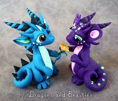Sweet Dragon Couple by DragonsAndBeasties on Etsy