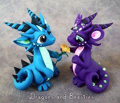 Sweet Dragon Couple by DragonsAndBeasties on Etsy