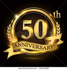50th golden anniversary logo with ring and ribbon, laurel wreath vector design.