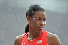 US Deedee Trotter reacts during the women's 400m heats competition of the athletics event, Aug. 3, 2012 .