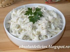 This celery root salad with chicken and mayonnaise is surprisingly tasty and easy to make with only a handful of budget friendly ingredients. I was really surprised how good this salad can be. Cold Vegetable Salads, Homemade Mayonnaise, Apple Salad, Boneless Chicken Breast, Salad Bowls, Chicken Salad, Celery, Chicken Recipes, Cabbage