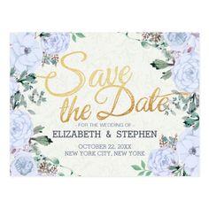 Wedding Save the Date Elegant Floral Gold Script Postcard