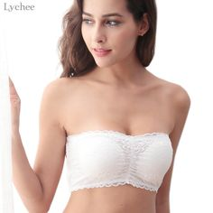 f29667ee54 Lychee Sexy Women Strapless Lace Tube Top Bralette Crossed Backless Crop  Top Corset Padded lace Bustier Bandeau Top-in Tube Tops from Women s  Clothing ...