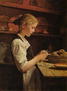 """Girl Peeling Potatoes"" ... by Albert Anker"