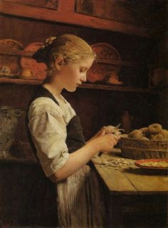 Albert Anker - Girl Peeling Potatoes