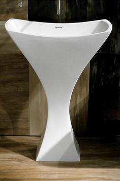 Chelsea Free Standing Pedestal Basin in matte-white composite surface by Hastings Tile & Bath.