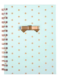 FOR SALE | MINT & GOLD Diary Journal Notebook Gold Polka Dots Spiral Bound Metal Bow School Supplies Desk Office Mint Blue Mint Green Seafoam Green Cute