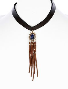 SUEDE FRINGE FAUX LEATHER CHOKER NECKLACE