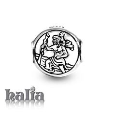 St. Christopher: St. Christopher's medal bead bead: designed exclusively by Halia, this bead fits other popular bead-style charm bracelets as well. Sterling silver, hypo-allergenic and nickel free.    $35.00