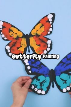 Easy butterfly painting art project for kids exploring symmetry and pattern. Make a beautiful blue morph or moarch butterfly suing our printable template #thecrafttrain #butterfly #kidsart #butterflyart Spring Art Projects, Spring Crafts For Kids, School Art Projects, Summer Crafts, Art Crafts For Kids, Easy Kids Art Projects, Kids Painting Projects, Easy Art For Kids, Easy Arts And Crafts