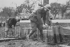 French gunners piling up heavy artillery rounds at the Maginot Line.