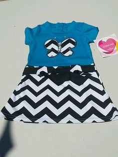 Girls size 2t blue black and white butterfly dress bnwt Youngland