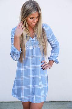Your Boyfriend's Button Down Dress By BB Dakota {Blue} from The Rage