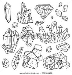 Set Of Hand Drawn Crystals And Minerals. Trendy Hipster Design Elements. Black And White Geometric Gems
