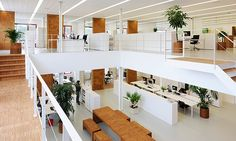 Vitals Office Interior BY: I Love Architecture  Mix of work areas and spaces.  Open collaboration, wired bench tables, open area workstations, open rooms, book able offices, ....