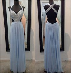 New A-line Long Blue Chiffon Prom Dresses Formal Gowns Evening Dresses Backless Beaded Party Cocktail Dresses Homecoming Graduation Dresses