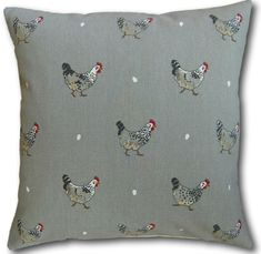 Cushion Covers for the Kitchen made in Sophie Allport Chicken & Eggs Grey 16""