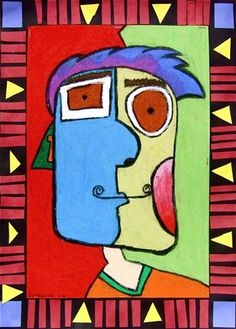 picasso style portrait 5, love the border maybe do a math lesson with this.. shapes?