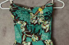1950s Alfred Shaheen Dress Surf N' Sand  Hawaiian Green Halter Sundress Mint Deadstock. $699.00, via Etsy.