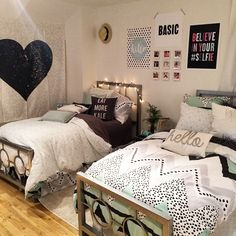 Rooms, teen shared bedroom, dorm room ideas for girls, dorm ideas, teen gir Room, Room Design, Shared Bedroom, Room Inspiration, Girl Room, Dorm Rooms, College Room, Dorm Room Decor, Bedroom Decor