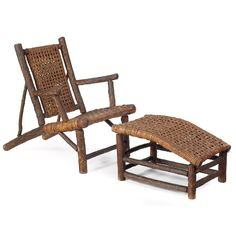 Old Hickory style lounge chair and ottoman