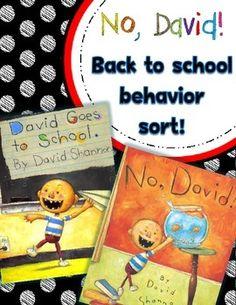 √ FREE No, David!  Back to School Behavior Sort