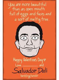Historical figures Valentine's Day cards by Ben Kling - Salvador Dali - Spanish/Art