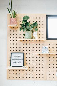 Pegboard shelf : large square x nursery Large Pegboard, Wooden Pegboard, Pegboard Craft Room, Pegboard Display, Pegboard Storage, Garage Tool Storage, Kitchen Pegboard, Craft Rooms, Peg Board Shelves