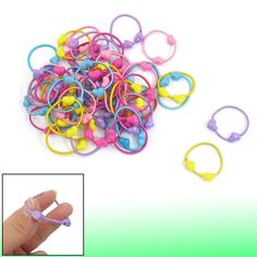 Lady Plastic Elastic Hearts Shape Beads Decor Band Hair Tie Colorful 50 Pcs