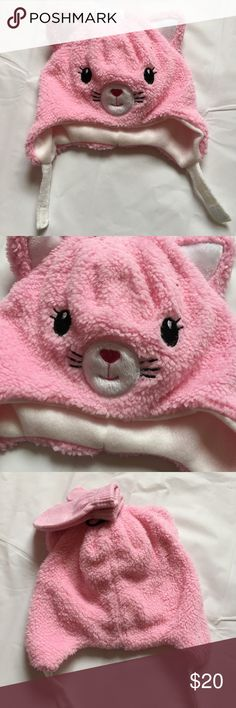 NWT Baby Girl's Pink Kitty Hat & Mittens Set Brand new with attached tags. Comes with mittens. Accessories Hats