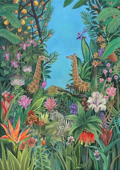 """Poster for the Macys """"Flowershow"""" at Macys NY by Olaf Hajek Art And Illustration, Illustrations Posters, Jungle Art, Haitian Art, Book Posters, Movie Posters, Tropical Art, Naive Art, Surface Design"""