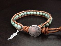 Turquoise+Leather+Wrap+Bracelet+with+sterling+by+DESIGNbyANCE,+$26.00