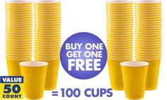 BOGO Sunshine Yellow Plastic Cups 50ct - Party City 100 total for $7.99