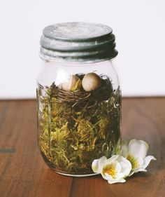 If you love the look of terrariums, this is a similar idea with an Easter twist. All you need is a Mason jar, fake moss, miniature birds' nests, and artificial eggs. Layer the items in the jar and seal the lid. This natural-looking element will help ground your Easter décor, if you're looking for something that's not bright and pastel-hued.
