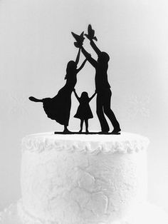 Wedding cake topper silhouette by CakeTopperDesign on Etsy