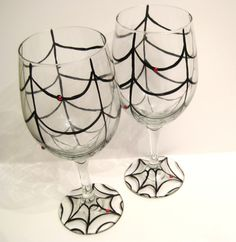 halloween wine glasses spider web i just tried my hand at one of these wine
