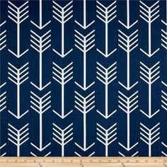 Premier Prints Arrow Twill Premier Navy/White from @fabricdotcom  Screen printed on cotton twill, this versatile medium weight fabric is perfect for window accents (draperies, valances, curtains, and swags), accent pillows, duvet covers, and upholstery projects.
