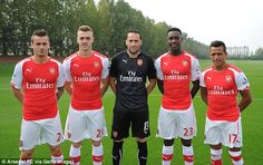 Arsenal's new signings Mathieu Debuchy, Calum Chambers, David Ospina, Danny Welbeck and Alexis Sanchez