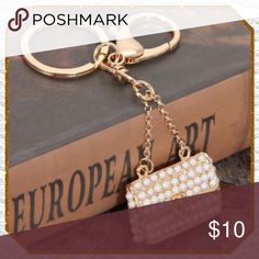 """Glamorous Pearl Handbag Purse Charm Glamorous mini pearls on gold tone Handbag purse charm / keychain, giant lobster claw clasp, 5"""" length Boutique Accessories Key & Card Holders"""