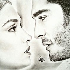 ❤❤hayat and murat ❤❤ Cute Love Couple, Couples In Love, Romantic Couples, Best Couple, Murat And Hayat Pics, Couple Sketch, Cute Love Stories, Celebrity Drawings, Hande Ercel