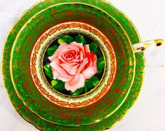 RESERVED FOR O-Paragon Pink Cabbage Rose Green Handpainted Double Warrant Tea Cup and Saucer - Edit Listing - Etsy