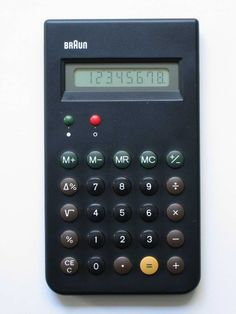 ET66, calculator, Dieter Rams and Dietrich Lubs, 1987, Braun, Germany. Dieter Rams, the German designer author for much of the early success of the Braun, is famous for his list of ten design principles. They espouse not only minimalist values but also reinforce that design is about human problem solving. ET66 has become one of the most imitated designs on earth. Even Apple wasn't immune to its allure; the original iPhone calculator paid unmistakable homage to its unobtrusive and functional…
