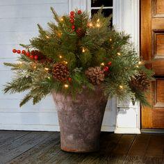 Christmas Urn Fillers, Christmas Urns, Christmas Lights, Christmas Decorations, Holiday Decor, Christmas Ideas, Christmas Planters, Starry String Lights, Solar String Lights