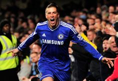 Chelsea's Spanish striker Fernando Torres celebrates scoring his team's second and winning goal during the English Premier League football match between Chelsea and Manchester City at Stamford Bridge in west London on October 27, 2013. Chelsea won 2-1