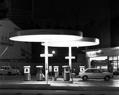 TOSHIO SHIBATA- Night Photographs N-046, Negishi, Yokohama City, Kanagawa Prefecture (Gas Station) 1982