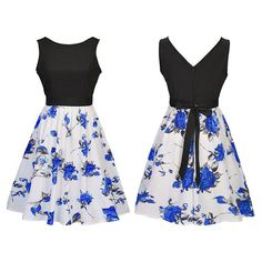 Backless Patchwork Bowknot Floral Print A-Line Mini Swing Casual Dress