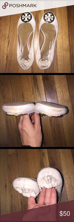 Tory Burch Reva ballet flats White colored. Has signs of wear and stain that may be able to come out if brought to a shoe maker. The price reflects this. Tory Burch Shoes Flats & Loafers