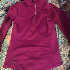 Nike dri fit hoodie Used a couple times but in great condition has a hoodie and is more of a purple than shown. Perfect for lots of things!! Nike Tops