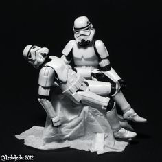 The original Pietà (1498–1499) is a masterpiece of Renaissance sculpture by Michelangelo Buonarroti. This is a reconstruction with Stormtrooper figures.